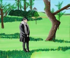 Malerische Selbstdarstellung vor einer Landschaft